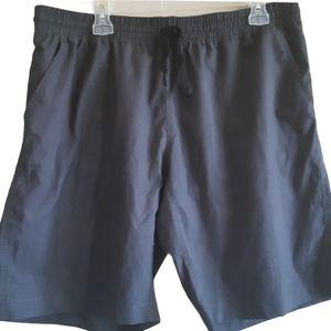 None | Drawstring shorts with back zipper pocket